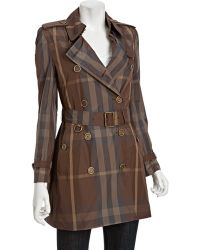 Burberry Brit Birch Grey Check Belted Trench Coat - Lyst