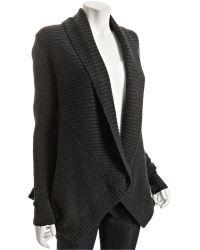 Robert Rodriguez Steel Ribbed Wool-cashmere Draped Cardigan - Lyst
