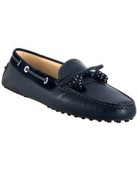 Tod's Navy Leather Haven Nappine Studded Tassel Loafers - Lyst