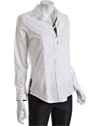 Burberry London White Cotton Button Front Shirt - Lyst