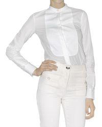 Ferragamo Cotton Poplin Plastron Shirt white - Lyst