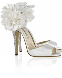 Brian Atwood Aurora Embellished Satin Sandals - Lyst