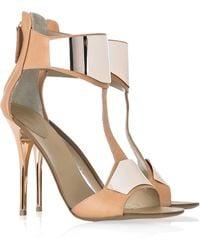 Giuseppe Zanotti Henry Leather T-bar Sandals gold - Lyst