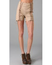 Opening Ceremony - Lace Up Leather Shorts - Lyst