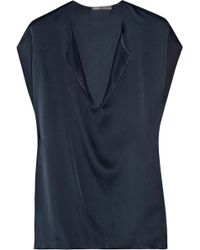 Vince Oversized Silk Top - Lyst