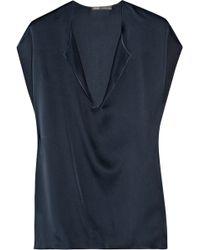 Vince Oversized Silk Top blue - Lyst