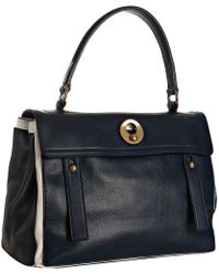 Saint Laurent Marine and White Calfskin Leather Muse Two Satchel - Lyst