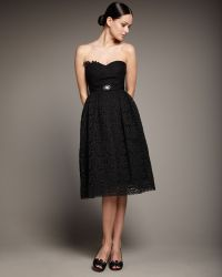 Redux Charles Chang-lima - Strapless Lace Belted Dress - Lyst