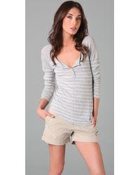 Splendid - Striped Loose Knit Henley Top - Lyst