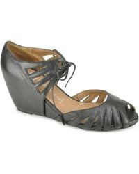 Jeffrey Campbell Shade - Black Leather Cut Out Wedge - Lyst