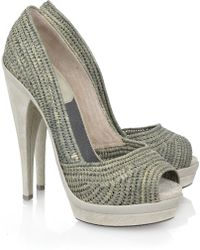 Donna Karan - Peep-toe Raffia Court Shoes - Lyst