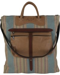 Jas MB - Striped Canvas and Brown Leather Shopper Bag - Lyst