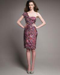 Lela Rose Printed One-shoulder Dress - Lyst