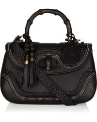 Gucci New Bamboo Stud-embellished Leather Tote black - Lyst