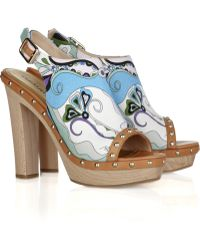 Emilio Pucci Printed Leather and Canvas Platform Mules - Lyst