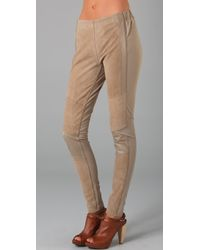 Surface To Air - Suede-paneled Cotton-jersey Leggings - Lyst