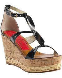 Paloma Barceló Vaini - Black Patent Leather Cork Wedge Sandal - Lyst