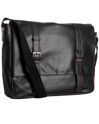Ben Sherman - Black Faux Leather Buckle Detail Laptop Messenger Bag - Lyst