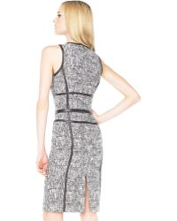 Michael Kors Leather-piped Tweed Dress - Lyst