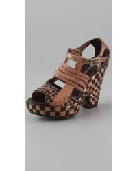 Sheridan Mia - Strippy Cutout Wedge Sandals - Lyst