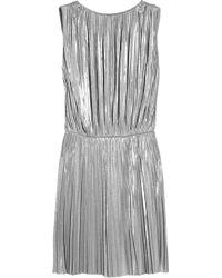 Halston Heritage Pleated Lamé Mini Dress - Lyst