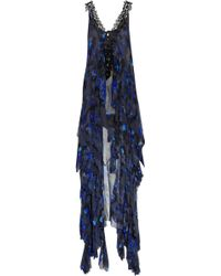 Julien Macdonald Peignoir Silk-chiffon Gown blue - Lyst