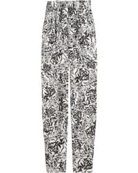 Seventh Wonderland Estelle Floralprint Silktwill Pants black - Lyst