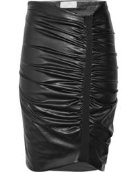 Willow - Asymmetric Faux-leather Ruched Skirt - Lyst