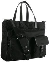 Prada Black Nylon Zip Pocket Messenger Bag - Lyst