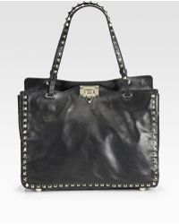 Valentino Rockstud Small Leather Tote Bag - Lyst