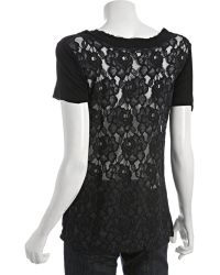 Rebecca Beeson - Black Jersey Lace Back Scoop Neck Top - Lyst