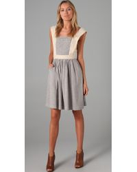 Twenty8Twelve - Bat Striped Cotton and Linen blend Dress - Lyst