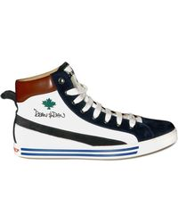 DSquared² Calfskin and Suede Sneakers white - Lyst
