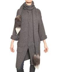 Dolce & Gabbana Fox Fur Alpaca Wool Knitted Sweater - Lyst