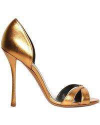 Edmundo Castillo 110mm Metallic Calfskin Dorsay Sandals - Lyst