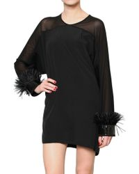 Givenchy Ostrich Feather Crepe Dress - Lyst
