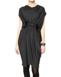 Lanvin Silk Satin Bow Wool Jersey Dress - Lyst