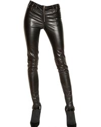 Versace Comfort Nappa Leather Trousers - Lyst