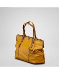 Bottega Veneta Resina Plume Leather Karung Bag - Lyst