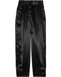 Marc Jacobs Cropped Pleat-front Satin Pants - Lyst