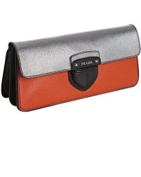 Prada Orange Colorblock Pigskin Leather Pushlock Clutch - Lyst