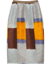Marni Printed Silk and Linen-blend Pencil Skirt gray - Lyst