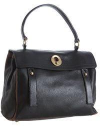 Saint Laurent Black and Brown Calfskin Leather Muse Two Satchel - Lyst