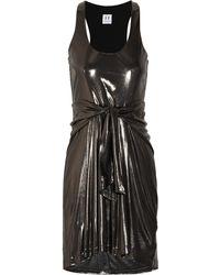 Halston Heritage Tie-front Lamé Dress - Lyst