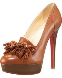 Christian Louboutin Agence 140 Tasseled Leather Pumps - Lyst