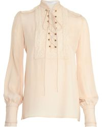 Givenchy Lace-up Bib Blouse - Lyst