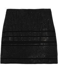 Max Azria Stud-embellished Silk-chiffon Mini Skirt - Lyst