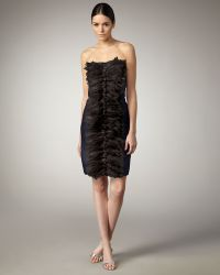 Tadashi Shoji Eyelash Tuxedo-pleat Dress - Lyst