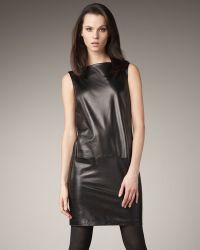 Vince Leather Boat-neck Dress - Lyst