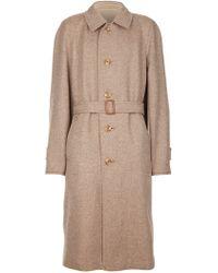 Aquascutum Beige Tweed Coat - Lyst